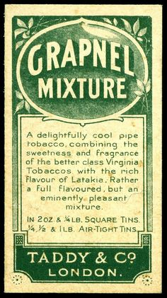 Cigarette Card Back - Taddy's Grapnel Mixture | Flickr - Photo Sharing❤️