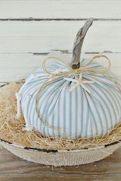 Fabric Pumpkins-Coastal-Beach Cottage Fall