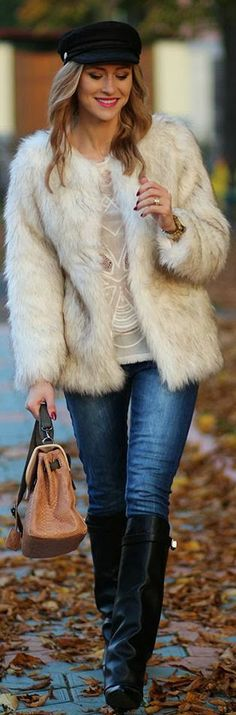 White Faux Coat and Jean