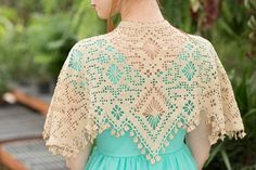 Filet crochet lace is stunningly shown in this lace shawl. Eolande full