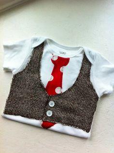Newborn-2T Boys Brown Tweed Tie Vest Onesie. $18.00, via Etsy.