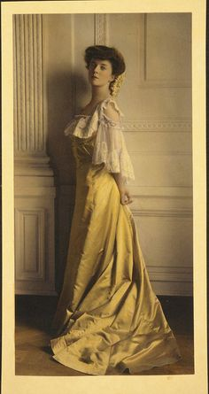 Colorized photograph of Miss Alice Roosevelt (Theodore's daughter) in the White House East Room.