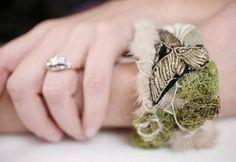 Vanitas Mink Cuff with Moss, Wedding Veil & Gold Filament for BourbonandBoots.com