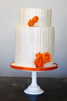 white and orange cake