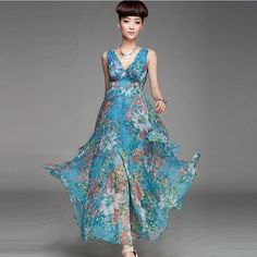 Elastic Waist Sexy V-Neck Floral Print Maxi Chiffon Dress