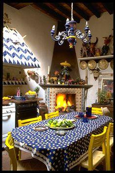 Colour! La Casa de Espiritus Alegres- kitchen. Guanajuato, Mexico