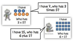 Common Core: I Have/Who Has Addition and Multiplication Models addit, school, multiplication, math coach, coach corner, number, educ, math idea, coaches