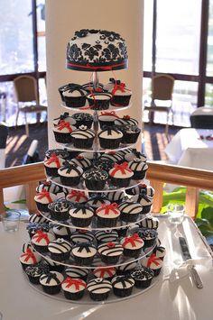 Red, black and white wedding cupcake