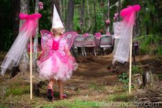 Best party ideas; love the hanging fairy tutus and the little boy hats.