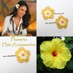 Plumeria Hair Accessories, bobby pins, Hawaiian Flowers, hair pins.