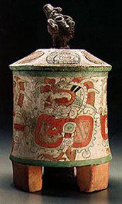 MesoAmerican Art - Cylindrical Tripod Vase with Effigy Cover Guatemala, Central Lowlands, Maya, 300-400