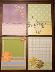 Spring Themed Blank Note Cards  Set of 4