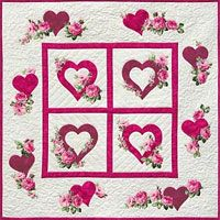 """Hearts and Flowers quilt Pattern by Needlesongs at KayeWood.com. Romance is definitely in the air with this 37½"""" square wall hanging. Combine one or more of your favorite flowered fabrics with simple heart shapes in easy modern fusible applique that mimics the centuries old technique of """"broiderie perse"""". http://www.kayewood.com/item/Hearts_and_Flowers_Pattern/3224 $8.50"""