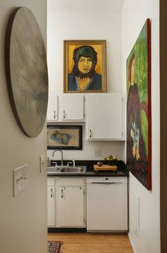 Art makes a simple kitchen sing.