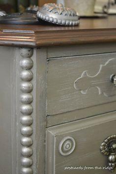 Antique Desk gets a complete makeover including a completely refinished top.
