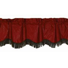 "Delectably-Yours.com Cheyenne Red Tooled Faux #Leather #Western #Valance with Fringe 88"" x 18"" #DelectablyYours #WesternDecor"