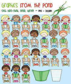 Stick Kids - Read, Write, Think  - Clipart for Teachers