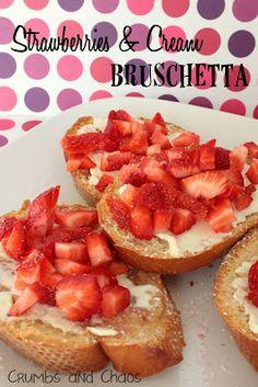 strawberries and cream bruschetta