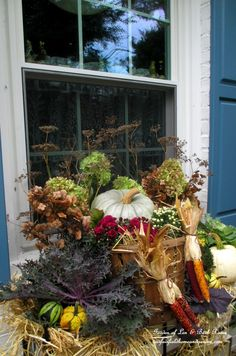 Fall Windowbox http://ourfairfieldhomeandgarden.com/fall-outdoor-decor-our-fairfield-home-and-garden/