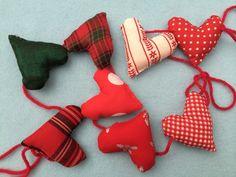 Mini heart garland with wool and christmas fabrics £4.50