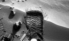 Mars rover Curiosity has cut a wheel scuff mark into a wind-formed ripple at the Rocknest site. Photograph: NASA/AFP/Getty Images