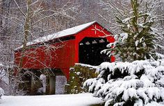 Winter Covered Bridge on a snowy day