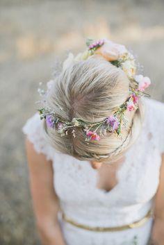 wedding hair - crown of flowers