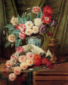 Still Life Of Roses And Other Flowers On A Draped Table