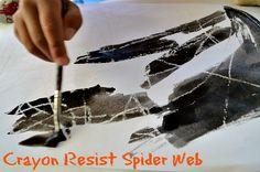 halloween art for kids - crayon resist spider web