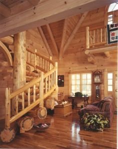 Log home livingroom.
