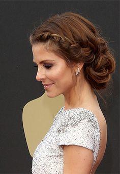 Maria Menounos' perfect braided updo | Brides.com wedding hairstyles, celebrity weddings