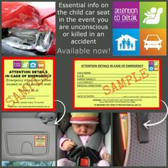Must have in case you are unconscious or killed in an accident. Info for first responders about your child.