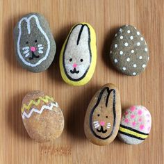 Bunny and Egg Painted Rocks- cute idea for Easter, find the rocks too