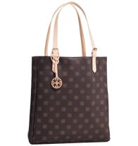 """Mailyn Tote. Avon's Signature Collection: Heritage meets modern style with our iconic monogram. Leatherlike monogrammed tote with magnetic-snap closure. Fully lined with one zip and one slip pocket. 15"""" H x 14 3/4"""" W x 3"""" D; handle drop, 9""""."""