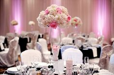 Romantic Black Pink White Ballroom Centerpiece Centerpieces WeddingWire.com. Repinned by #indianweddingsmag #tablescape #black #white #weddings #couples #bride #groom #brideandgroom #summerweddings #aboutindianweddings indianweddingsmag.com
