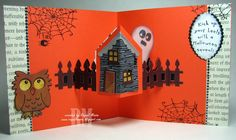 Raquel Mason using the Pop it Ups House Pivot Card, Poppy the Owl, Chilly the Penguin(for the ghost) and All Seasons Tree dies by Karen Burniston for Elizabeth Craft Designs - Raquel's Stampin' Blog: Pop It Ups double Halloween House Pivot