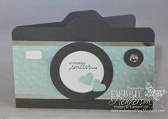 Stampin' Up! Envelope Punch Board camera card. Includes step-by-step tutorial. Debbie Henderson, Debbie's Designs.