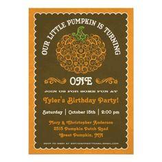 Lacy Little Pumpkin Birthday Invitation II. $1.70 #birthdayinvites #fallbirthdayinvite