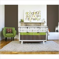 funky little boys room, love lime and white for boys rooms instead of regular blue, cld do diff accent color for each rm