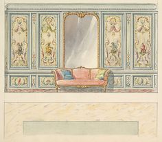 Mewès and Davis (active London and Paris, from 1900). Design for a Wall Elevation with a Large Double-arched Mirror and Sofa (Fifth Floor), ca. 1900-1914. The Metropolitan Museum of Art, New York. Purchase, Anne Stern Gift, 1976 (1976.502.1.2(42))
