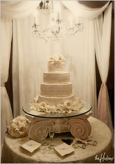 All-white cake table - Photo by Jason