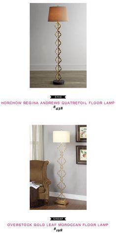 Horchow Regina Andrews Quatrefoil Floor Lamp $438  -vs-  Overstock Gold Leaf Moroccan Floor Lamp $198
