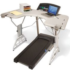 Treadmill Desk: In case you don't want to DIY (http://pinterest.com/pin/370122/) here is an option for a sturdy, height adjustable, u-shaped console complete with a four level file tray, a manuscript stand to keep reading material upright and best of all, two cup holders.