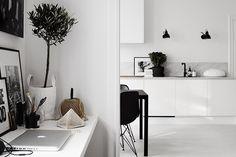 Cocina nórdica en blanco y negro