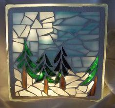 mosaic winter scene glass block