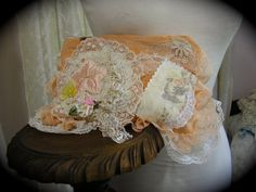 Shabby Clutch Bag handmade cottage chic style by TatteredDelicates on Etsy