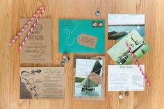 vintage postcards and kraft invitations by http://www.etsy.com/shop/hooplalove  Photography by carolinefrostphotography.com