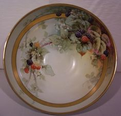 Vintage Selb Bavaria Punch Bowl Hand Painted Blackberries