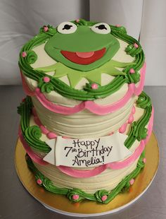 Kermit the frog 2 tier cake