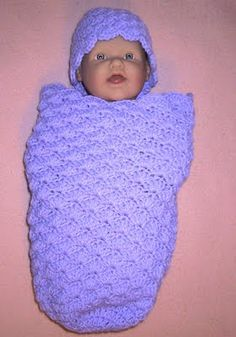 SHELL SLEEP SACK AND CAP free crochet pattern